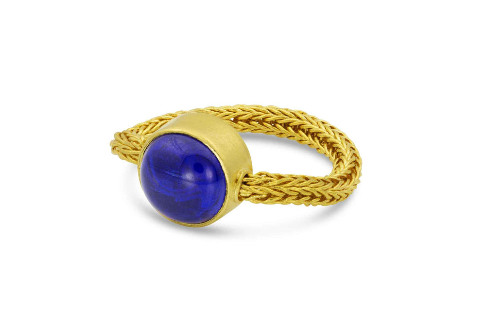 22K yellow gold chain ring with tanzanite by Loren Nicole