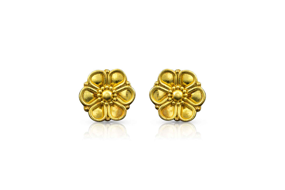 22K yellow gold rosette post earrings