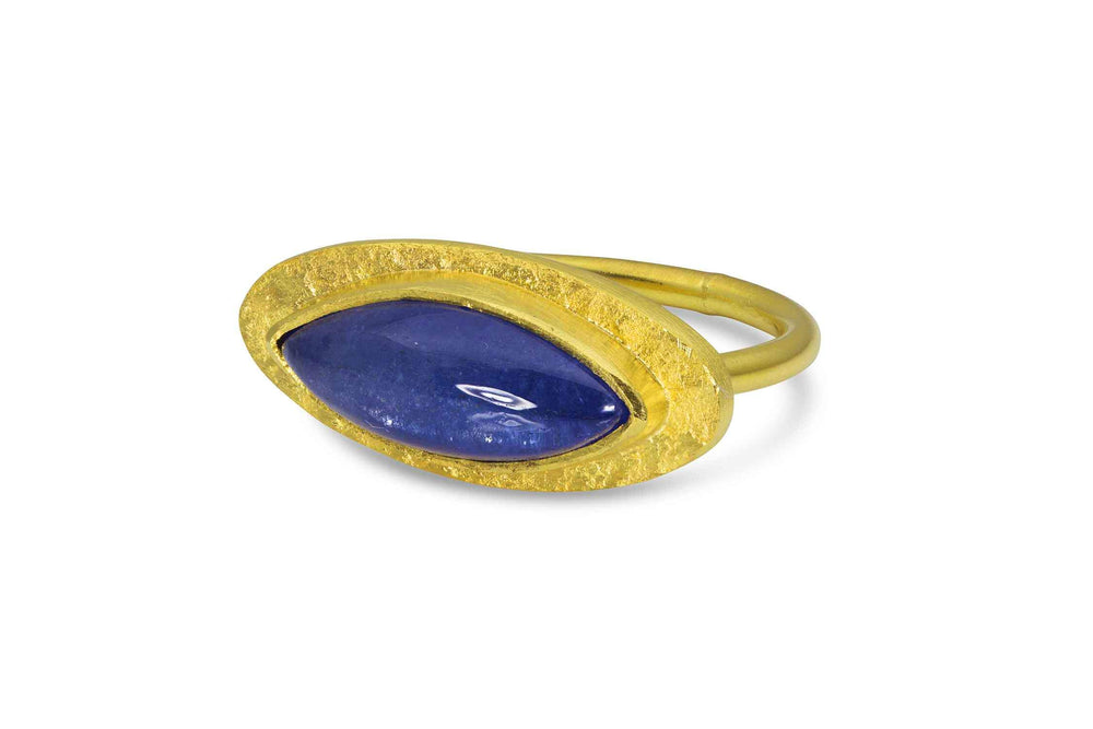 22K yellow gold ring with tanzanite by Loren Nicole