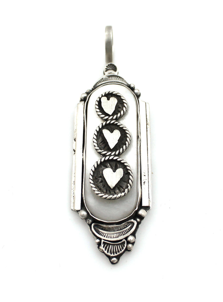 Mother Of Pearl Heart Pendant-Jewelry-Maria Goler Baca-Sorrel Sky Gallery