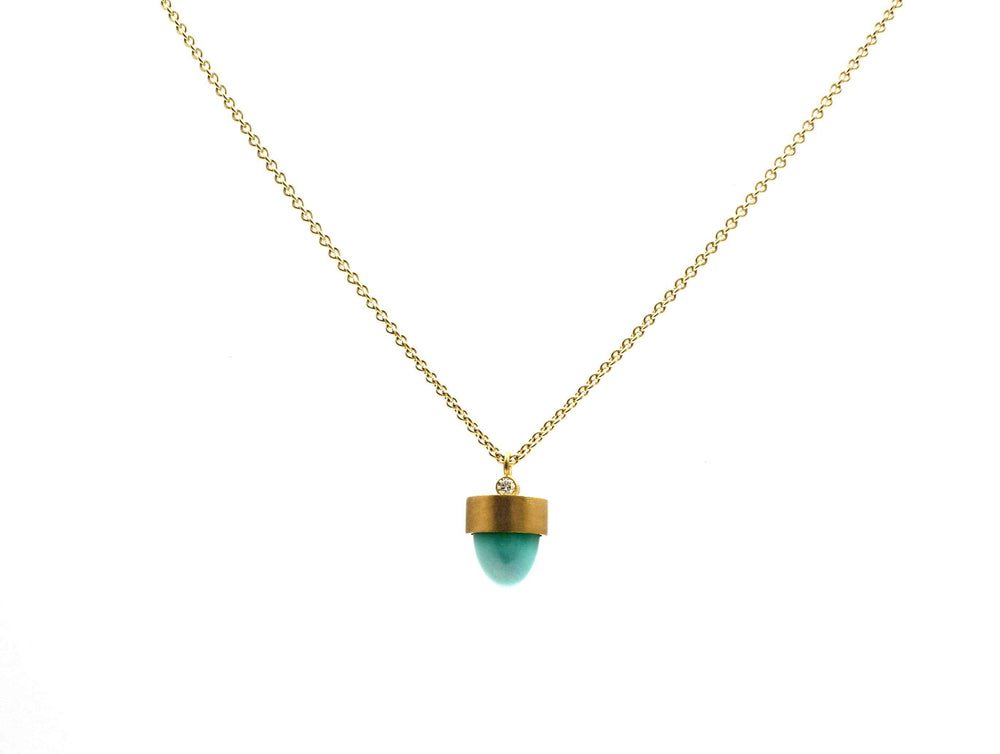 Blue Moon Turquoise Bullet Necklace with Diamond