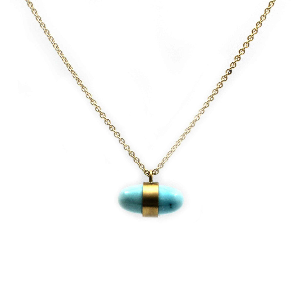 Blue Moon Turquoise Bullet Necklace-Jewelry-Maria Samora-Sorrel Sky Gallery