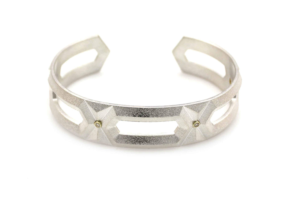 Hexagon Diamond Cuff Bracelet