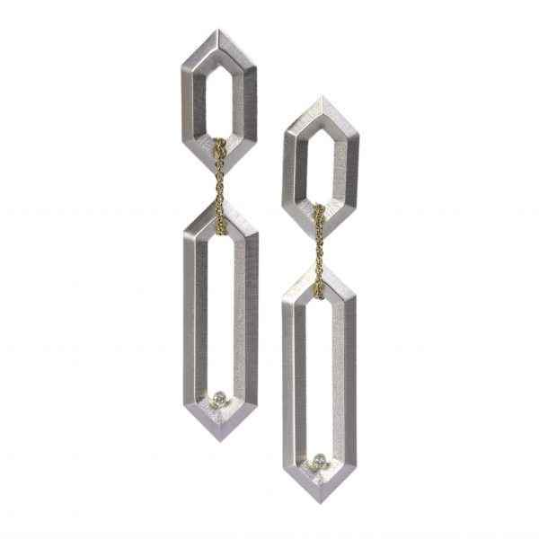 Hexagon Link Earrings with Diamonds
