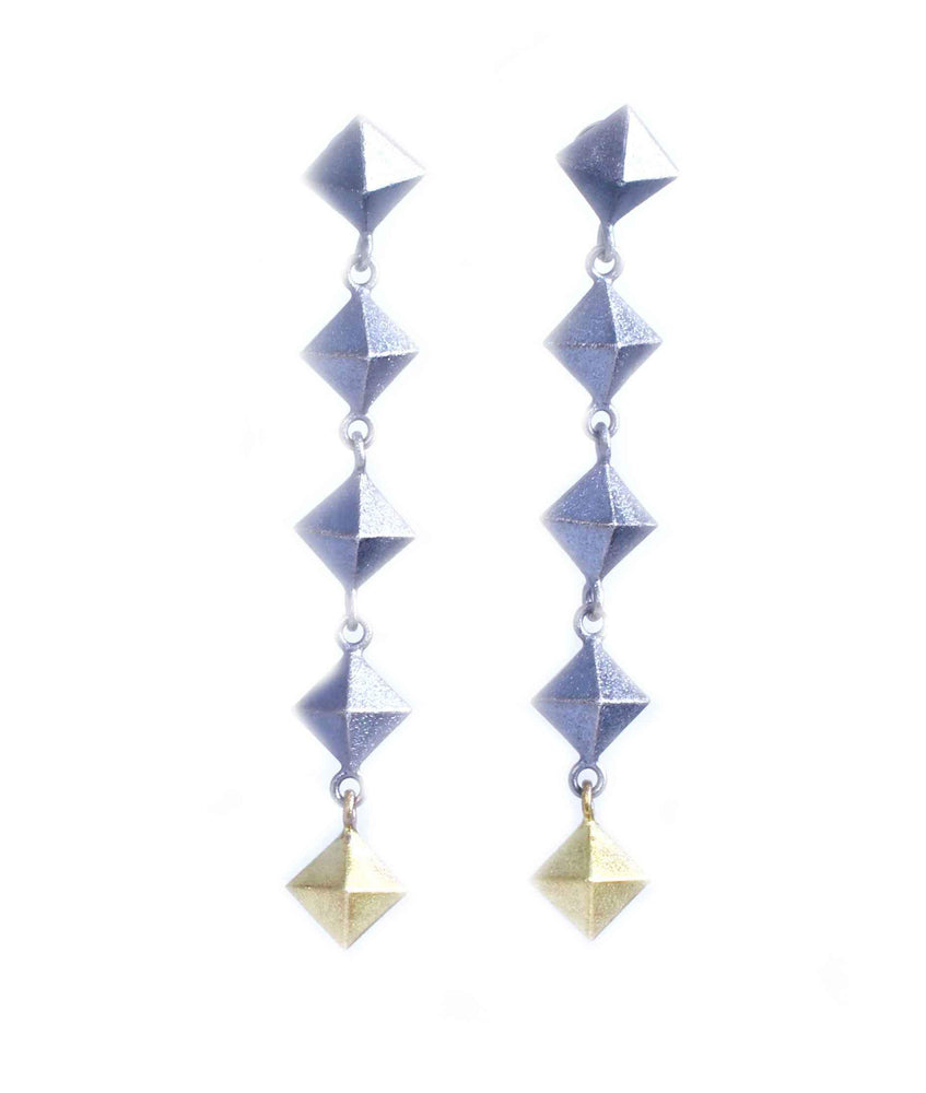 Pyramid 5 Link Earrings