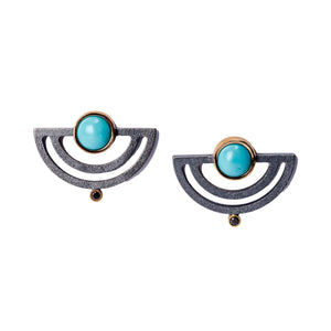Strata Half Moon Earrings-Jewelry-Maria Samora-Sorrel Sky Gallery