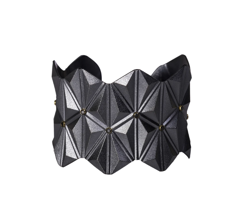 Tetra Wide Cuff With Black Diamonds-Jewelry-Maria Samora-Sorrel Sky Gallery