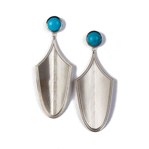 Maria Samora-Sorrel Sky Gallery-Jewelry-Turquoise Feather Earrings