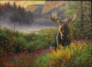Moose in a mountain landscape. Painting by Mark Keathley. Sorrel Sky Gallery