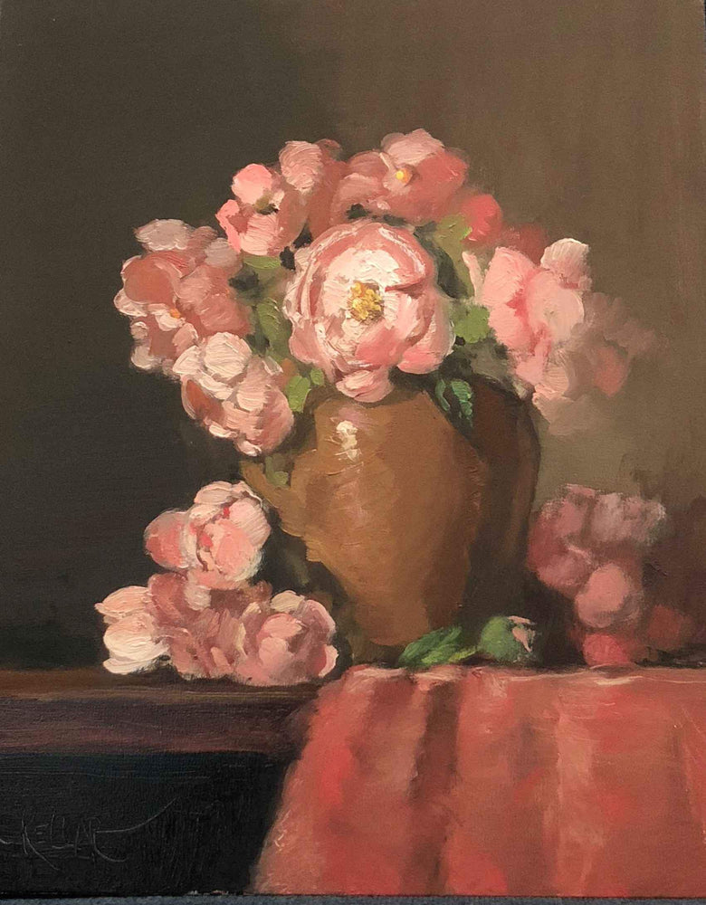 Martha Kellar-Sorrel Sky Gallery-Painting-Roses In Amber Vase