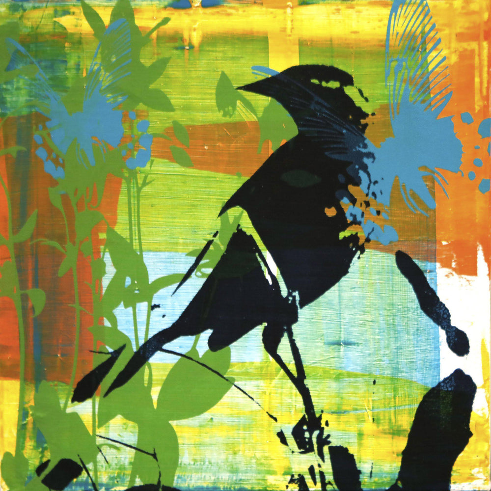 Original painting of a song bird by Maura Allen.  Inspired by Durango's Music in the Mountains series.