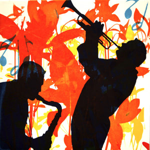 Original Painting of silhouettes of two men playing a saxophone and trumpet.