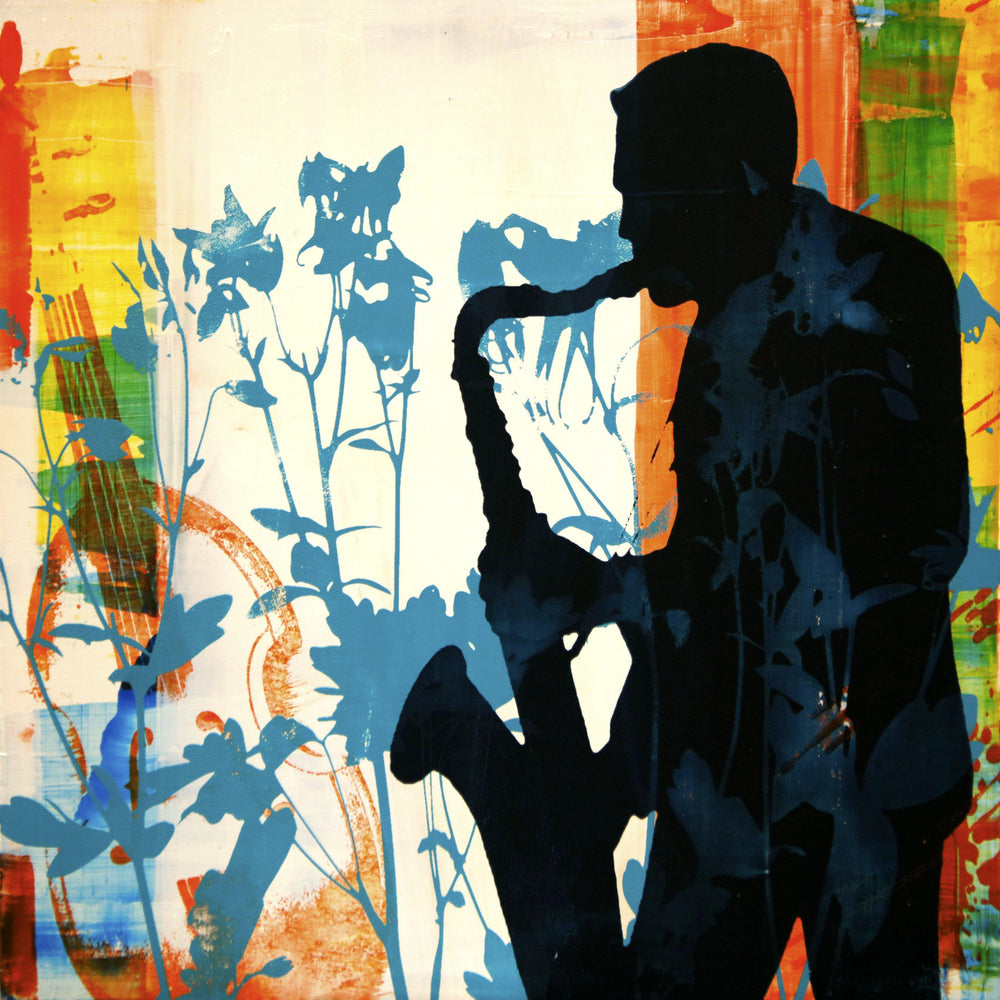 Silhouette of a male saxophone musician.  Original by Maura Allen. Inspired by Music in the Mountains.