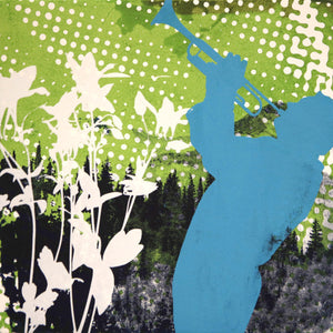 Silhouette of a trumpet player. Original by Maura Allen. Inspired by Music in the Mountains.