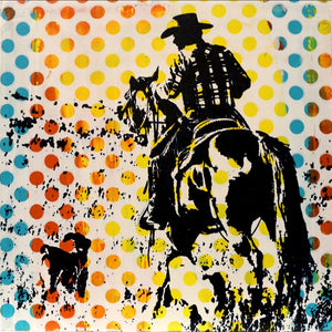 contemporary pop art acrylic painting of a cowboy on a horse by maura allen