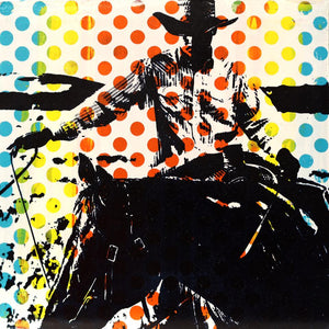 contemporary pop art acrylic painting of a roping cowboy by maura allen