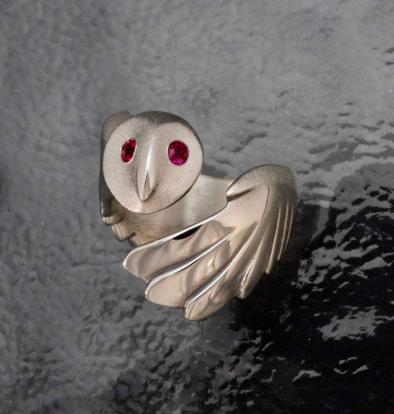 Owl With Ruby Eyes Ring