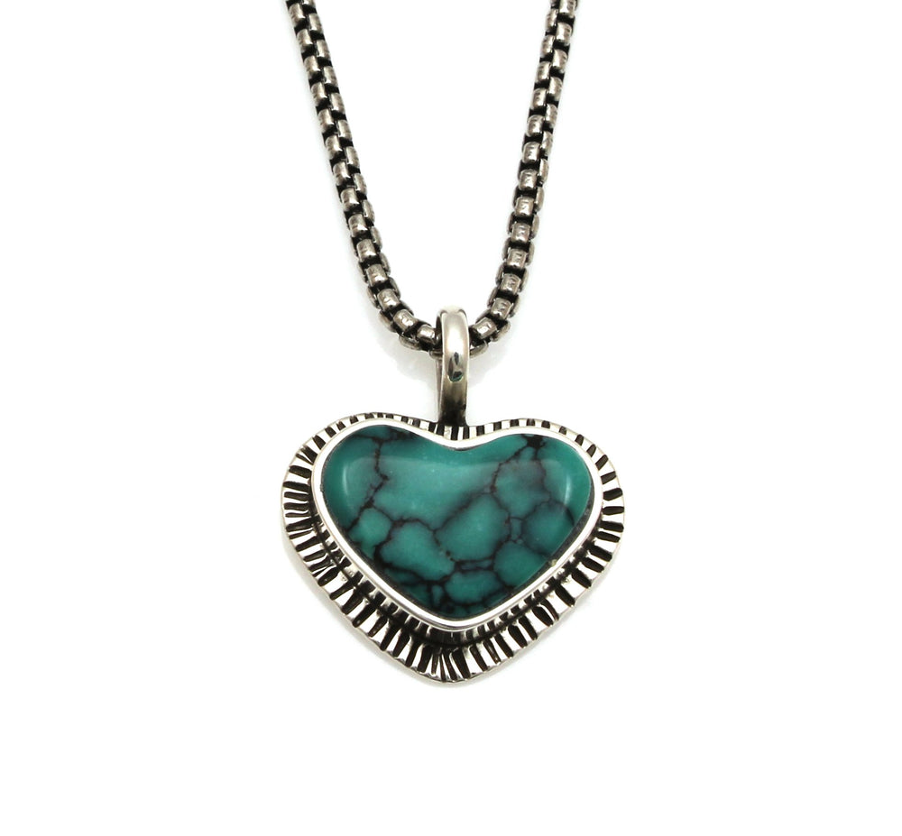 Bisbee Turquoise Heart Pendant-Jewelry-Michelle Tapia-Sorrel Sky Gallery