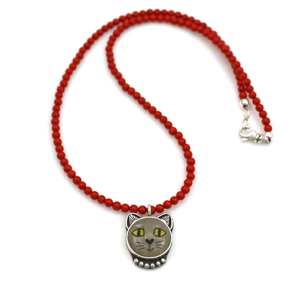 Grey Cat with Yellow Eyes Necklace