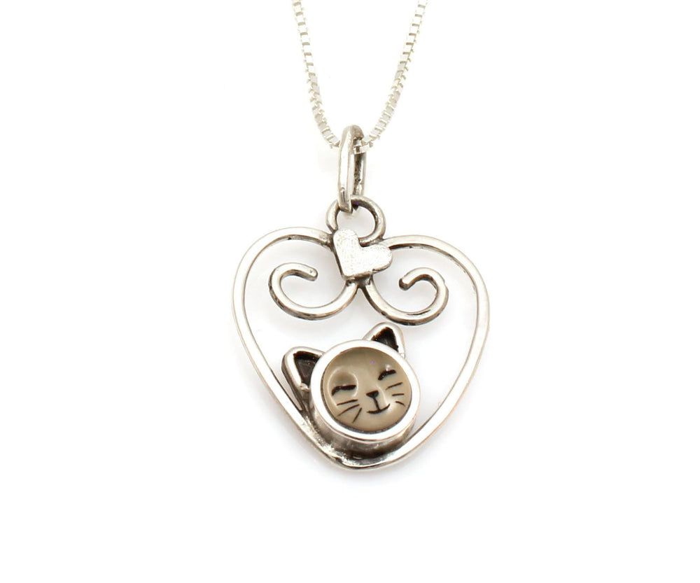 Kitten In Swirl Heart Pendant