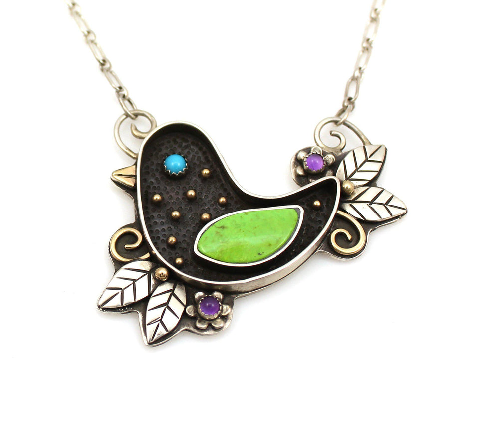 Large Nesting Bird Necklace-Jewelry-Michelle Tapia-Sorrel Sky Gallery