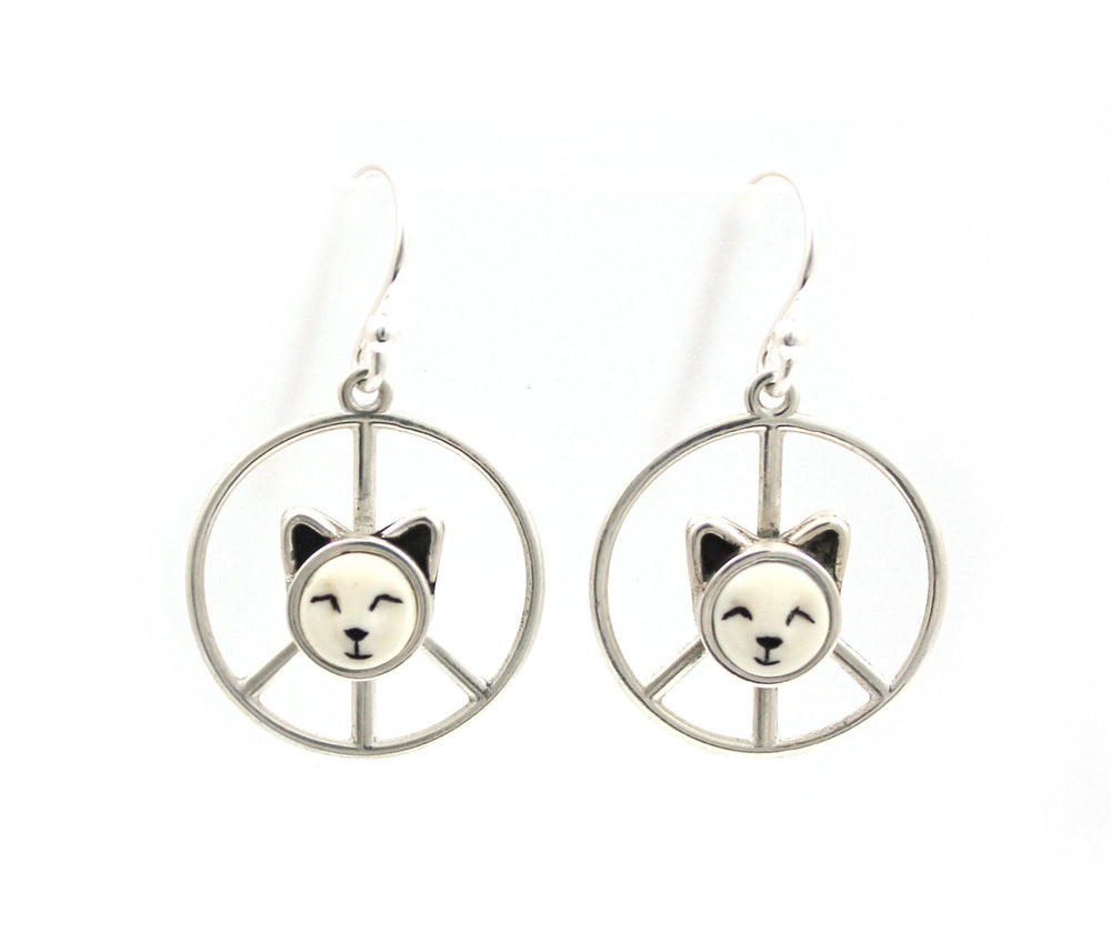 Peace Sign Kitten Earrings