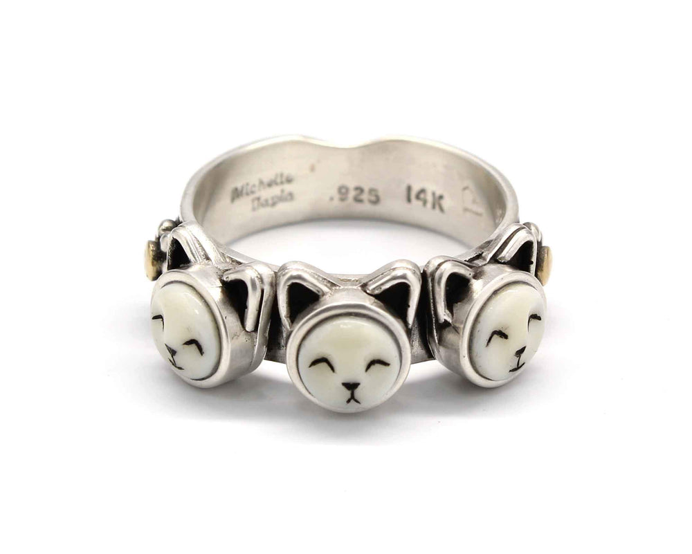 Three Face Kitten Ring