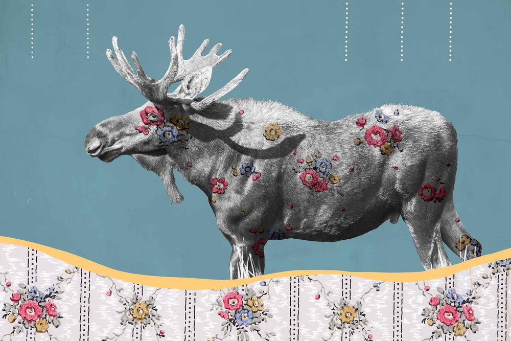 Modern art - moose with an overlay of historical wall paper. Miles glynn. Sorrel Sky Gallery.