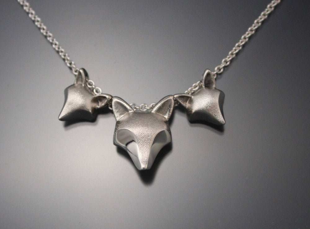 Mother Fox and Kits Necklace