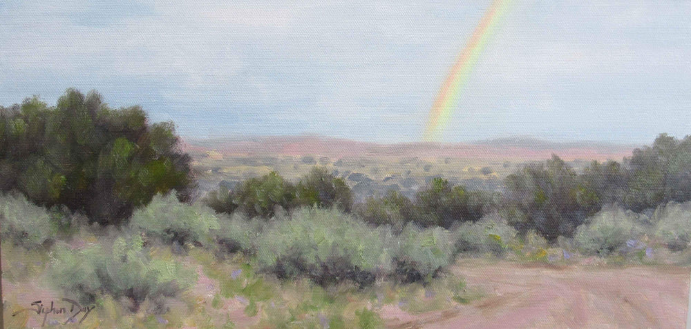 NM Rainbow. Landscape painting with a rainbow. Stephen Day. Sorrel Sky Gallery.