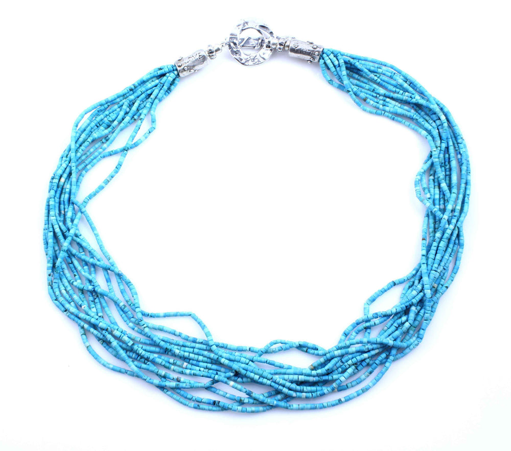 Pam Springall-Sorrel Sky Gallery-Jewelry-12 Strand Persian Turquoise Necklace