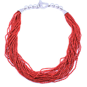 Pam Springall-Sorrel Sky Gallery-Jewelry-21 Strand Coral Necklace