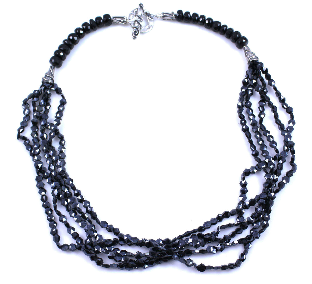 Pam Springall-Sorrel Sky Gallery-Jewelry-5 Strand Black Spinel Necklace