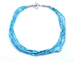 Pam Springall-Sorrel Sky Gallery-Jewelry-5 Strand Persian Turquoise Necklace