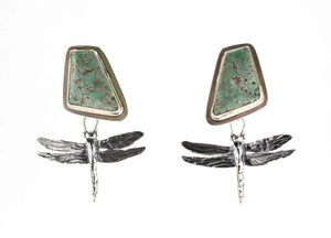 Pam Springall-Sorrel Sky Gallery-Jewelry-#8 Turquoise With Dragonflies Post Earrings