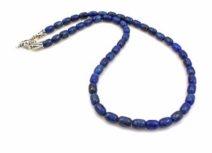 Barrel Lapis Bead Necklace-Jewelry-Pam Springall-Sorrel Sky Gallery