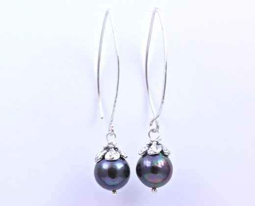 Pam Springall-Sorrel Sky Gallery-Jewelry-Black Pearl Earrings