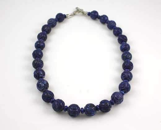 Pam Springall-Sorrel Sky Gallery-Jewelry-Carved Lapis Necklace