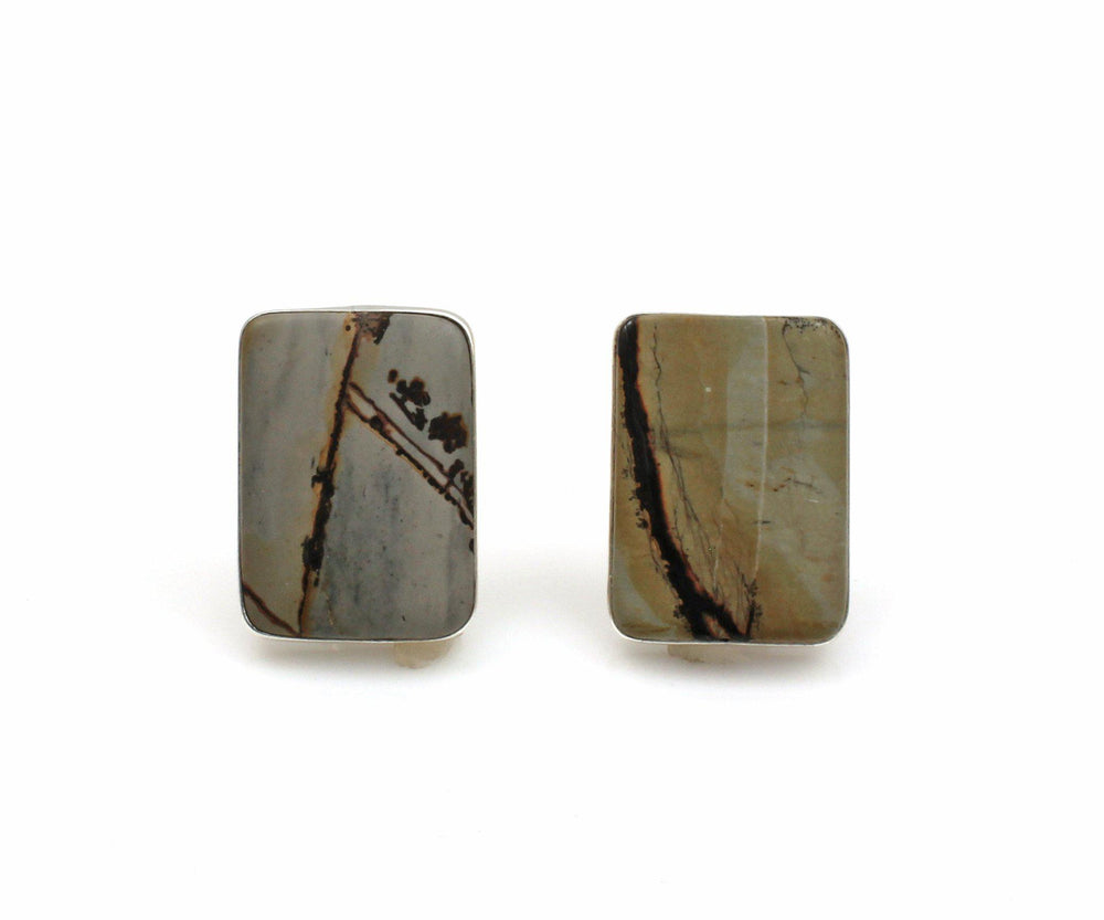Chinese Writing Stone Clip On Earrings-Jewelry-Pam Springall-Sorrel Sky Gallery