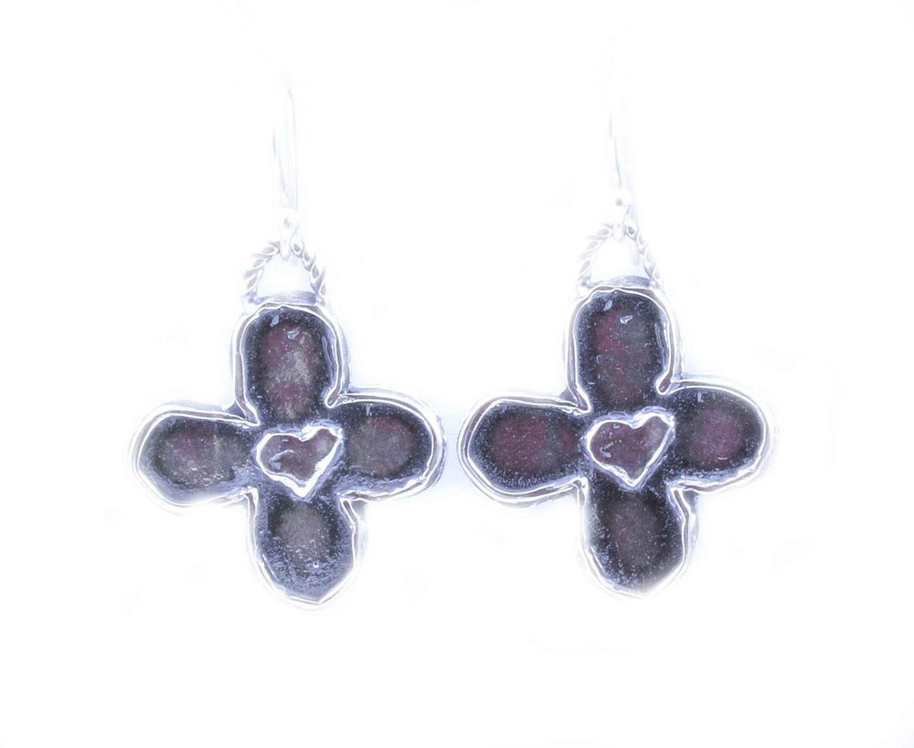 Pam Springall-Sorrel Sky Gallery-Jewelry-Crosses And Hearts Dangle Earrings