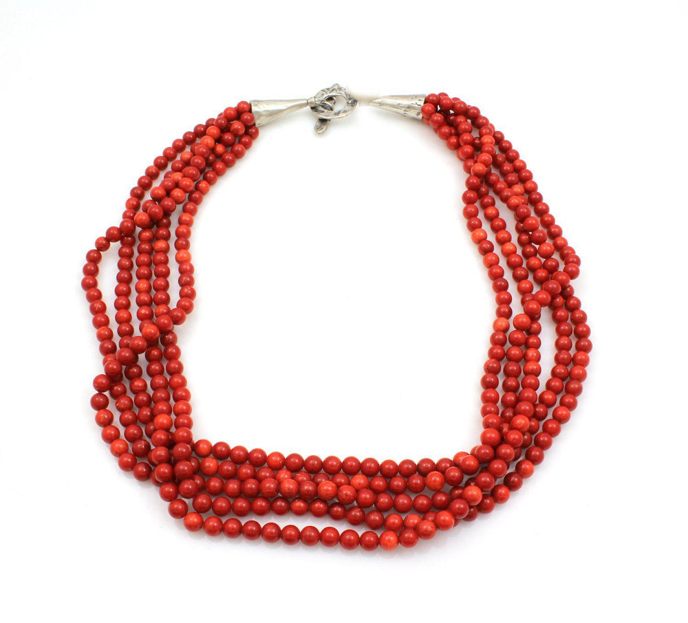 Five Strand Bamboo Coral Necklace-Jewelry-Pam Springall-Sorrel Sky Gallery