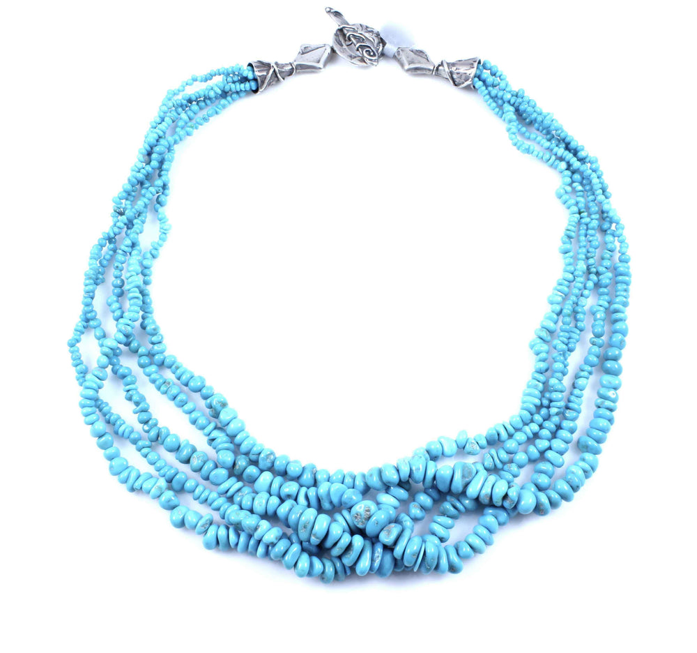 Pam Springall-Sorrel Sky Gallery-Jewelry-Five Strand Sleeping Beauty Bead Necklace