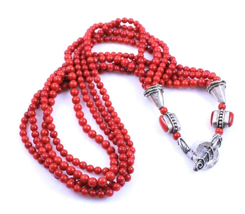 Pam Springall-Sorrel Sky Gallery-Jewelry-Four Strand Sardinia Coral Necklace