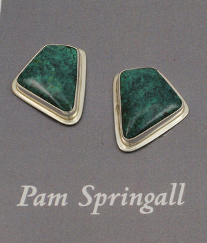 Green Spiderweb Turquoise Clip On Earrings-Jewelry-Pam Springall-Sorrel Sky Gallery