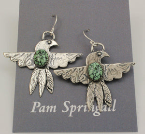 Green Turquoise Thunderbird Earrings-Jewelry-Pam Springall-Sorrel Sky Gallery