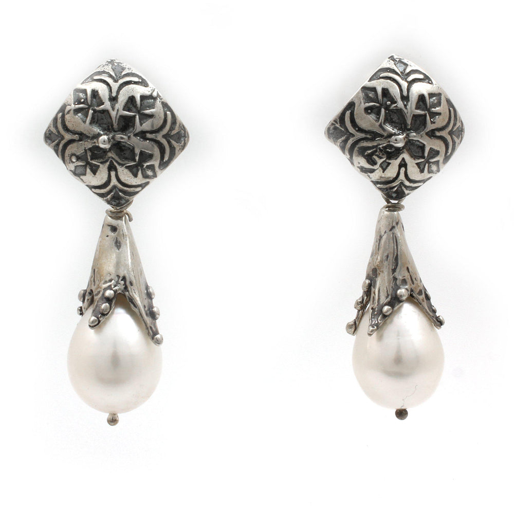 Pearl Snowdrop Post Earrings-Jewelry-Pam Springall-Sorrel Sky Gallery