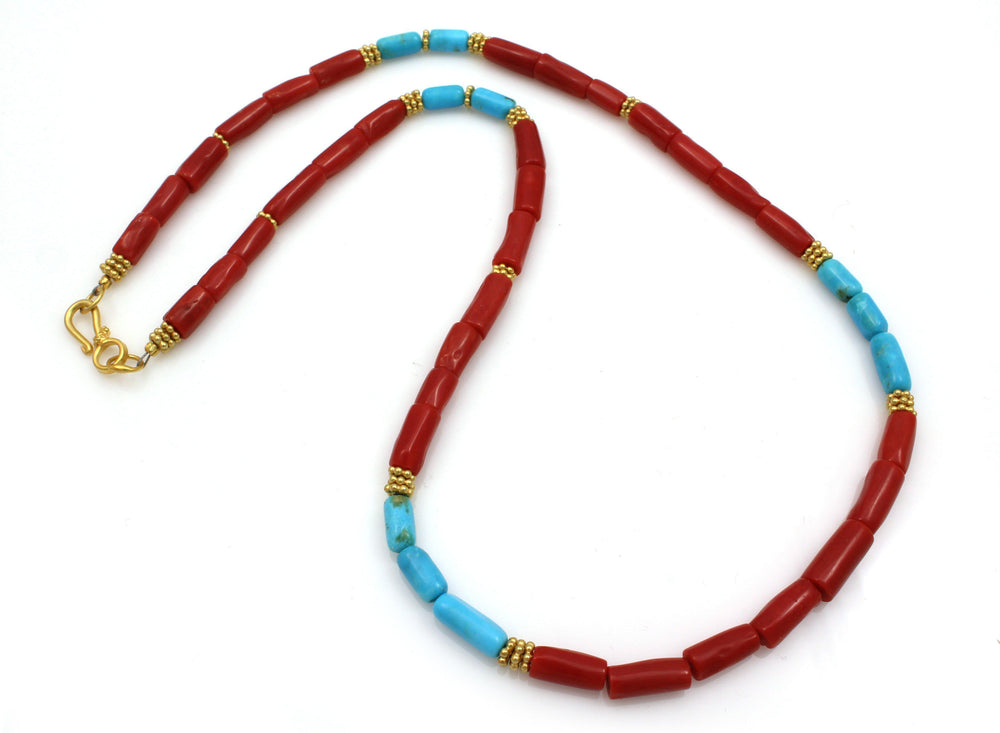 Red Coral and Turquoise Vermeil Necklace