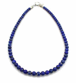 Round Lapis Bead Necklace-Jewelry-Pam Springall-Sorrel Sky Gallery