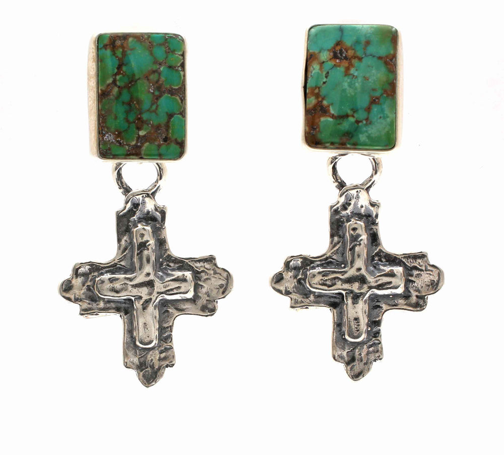 Silver Crosses on Turquoise Post Earrings
