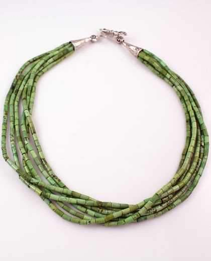 Pam Springall-Sorrel Sky Gallery-Jewelry-Six Strand Green Turquoise Necklace